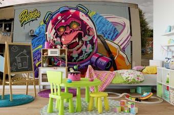 3D Monkey Astronaut Wall Mural Wallpaper B07 Self-adhesive Laminated Vinyl-W: 420cm X H: 260cm
