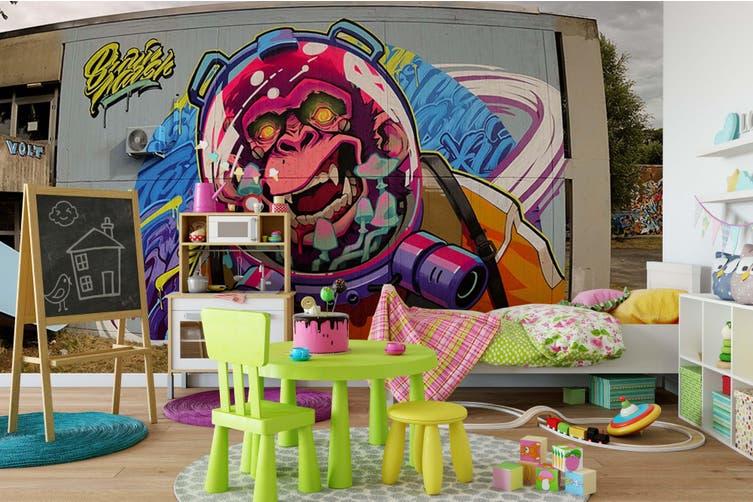 3D Monkey Astronaut Wall Mural Wallpaper B07 Self-adhesive Laminated Vinyl-W: 525cm X H: 295cm