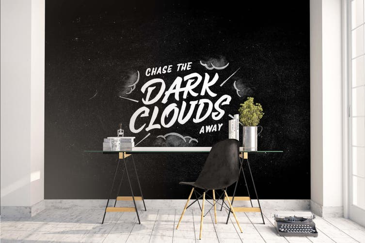 3D White Slogan Black Background Wall Mural Wallpaper B04 Self-adhesive Laminated Vinyl-W: 420cm X H: 260cm