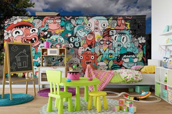 3D Colorful Abstract Monster Wall Mural Wallpaper B05 Self-adhesive Laminated Vinyl-W: 210cm X H: 146cm