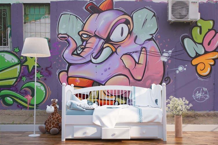 3D Purple Elephant Monster Wall Mural Wallpaper B06 Self-adhesive Laminated Vinyl-W: 320cm X H: 225cm