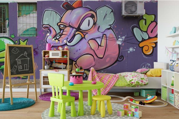 3D Purple Elephant Monster Wall Mural Wallpaper B06 Self-adhesive Laminated Vinyl-W: 420cm X H: 260cm