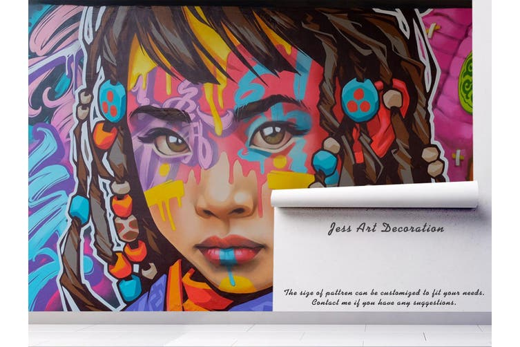 3D Girl Face Colorful Graffiti Wall Mural Wallpaper B03 Self-adhesive Laminated Vinyl-W: 210cm X H: 146cm