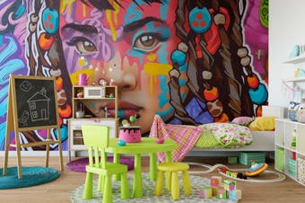 3D Girl Face Colorful Graffiti Wall Mural Wallpaper B03 Self-adhesive Laminated Vinyl-W: 525cm X H: 295cm