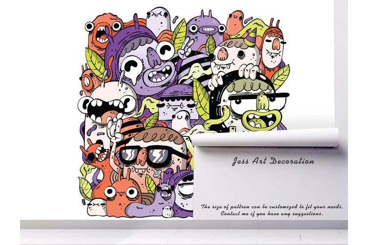 3D Colorful Monster Graffiti Wall Mural Wallpaper B02 Self-adhesive Laminated Vinyl-W: 320cm X H: 225cm