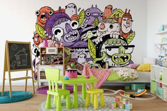 3D Colorful Monster Graffiti Wall Mural Wallpaper B02 Self-adhesive Laminated Vinyl-W: 420cm X H: 260cm