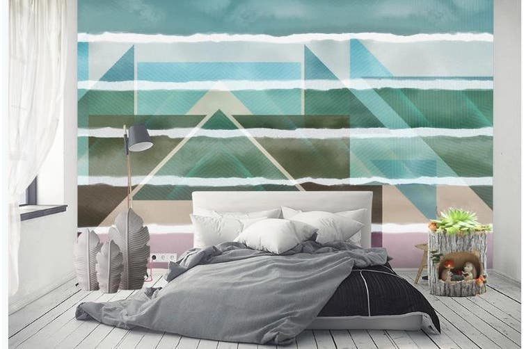 3D Color Abstract Geometry Graphical Wall Mural Wallpaper  D95 Self-adhesive Laminated Vinyl-W: 320cm X H: 225cm