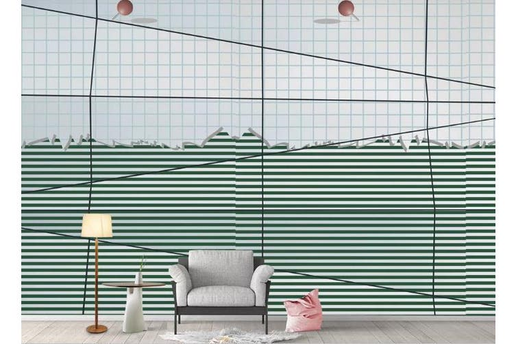 3D Simplicity Style Lines Wall Mural Wallpaper  D94 Self-adhesive Laminated Vinyl-W: 420cm X H: 260cm