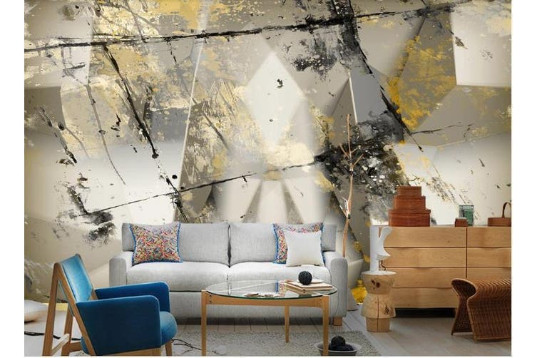 3D Color Abstract Geometry Graphical Wall Mural Wallpaper  D92 Self-adhesive Laminated Vinyl-W: 210cm X H: 146cm