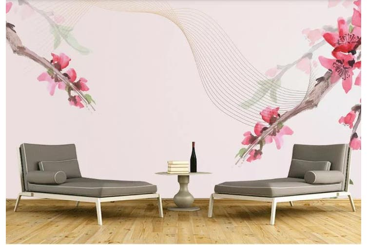 3D Hand drawing Flowers Wall Mural Wallpaper  D90 Self-adhesive Laminated Vinyl-W: 210cm X H: 146cm
