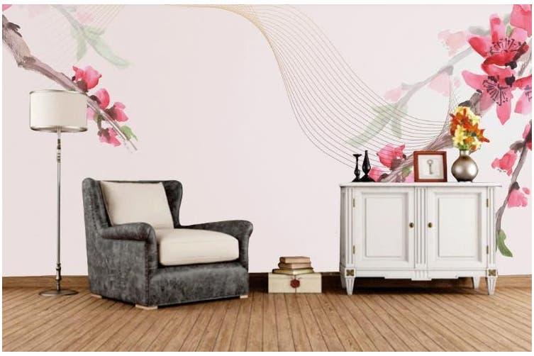 3D Hand drawing Flowers Wall Mural Wallpaper  D90 Self-adhesive Laminated Vinyl-W: 525cm X H: 295cm
