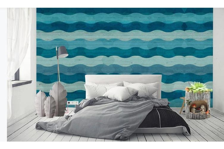 3D Abstract Blue Waves Wall Mural Wallpaper  D89 Self-adhesive Laminated Vinyl-W: 210cm X H: 146cm