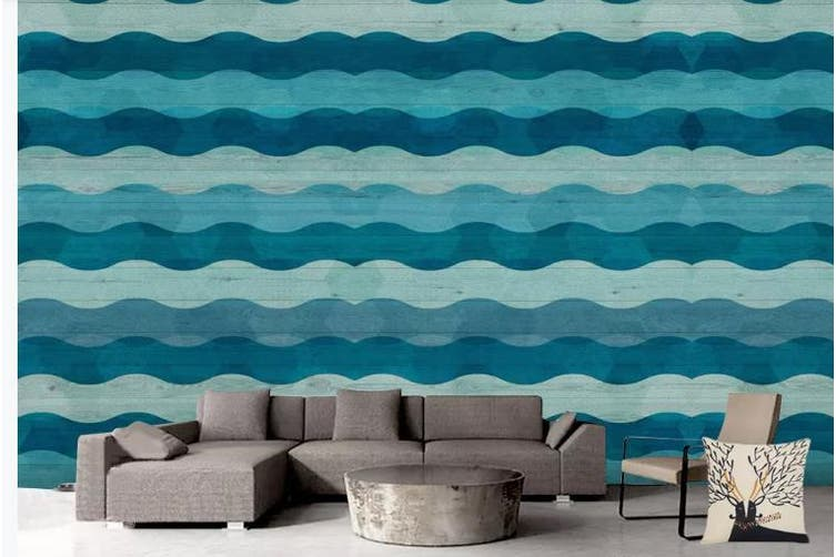 3D Abstract Blue Waves Wall Mural Wallpaper  D89 Self-adhesive Laminated Vinyl-W: 320cm X H: 225cm