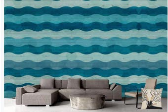 3D Abstract Blue Waves Wall Mural Wallpaper  D89 Self-adhesive Laminated Vinyl-W: 420cm X H: 260cm