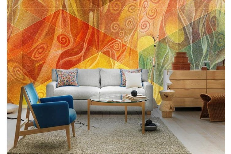 3D Color Abstract Geometry Graphical Wall Mural Wallpaper  D88 Self-adhesive Laminated Vinyl-W: 525cm X H: 295cm