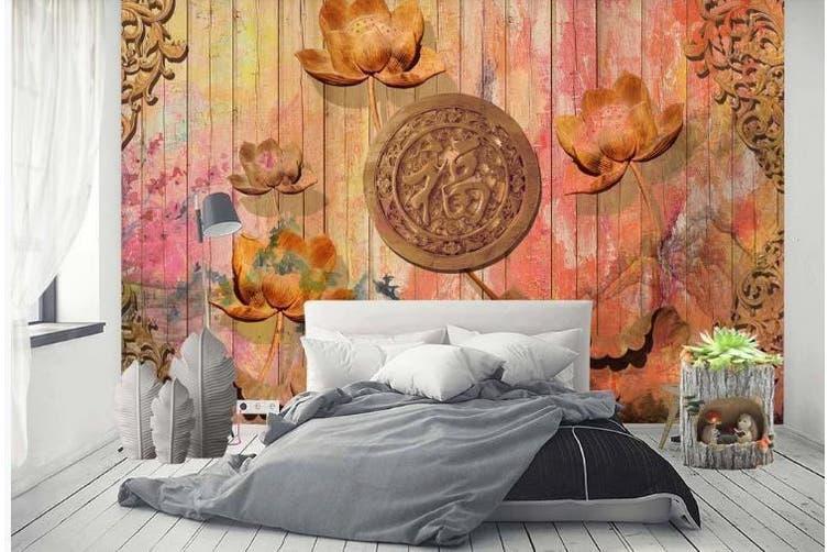 3D Retro Lotus Wall Mural Wallpaper  D85 Self-adhesive Laminated Vinyl-W: 525cm X H: 295cm