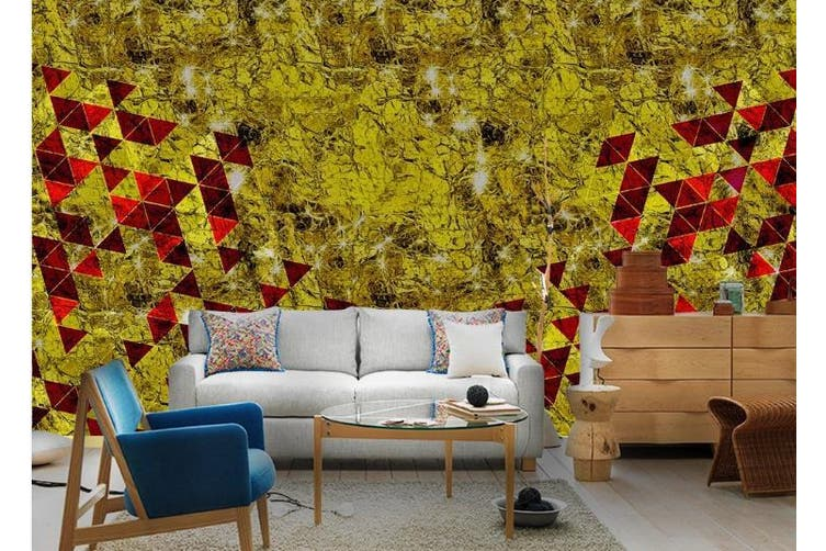 3D Abstract Golden Background Triangle Wall Mural Wallpaper  D84 Self-adhesive Laminated Vinyl-W: 320cm X H: 225cm