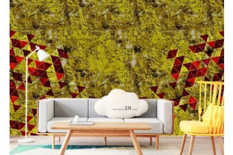 3D Abstract Golden Background Triangle Wall Mural Wallpaper  D84 Self-adhesive Laminated Vinyl-W: 420cm X H: 260cm