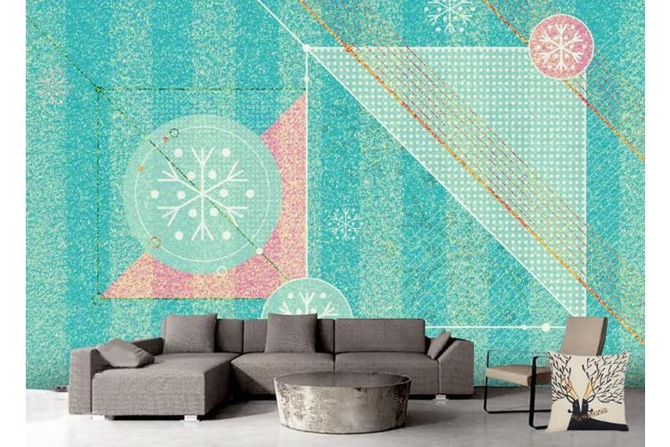 3D Retro Geometry Graphical Wall Mural Wallpaper  D81 Self-adhesive Laminated Vinyl-W: 210cm X H: 146cm
