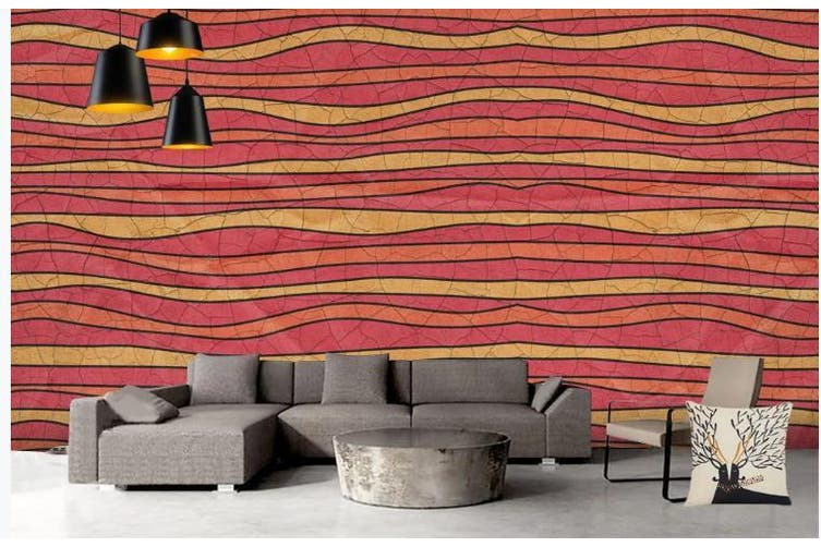 3D Color Stripes Background Wall Mural Wallpaper  D80 Self-adhesive Laminated Vinyl-W: 420cm X H: 260cm