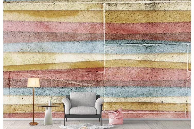 3D Color Stripes Background Wall Mural Wallpaper  D77 Self-adhesive Laminated Vinyl-W: 210cm X H: 146cm