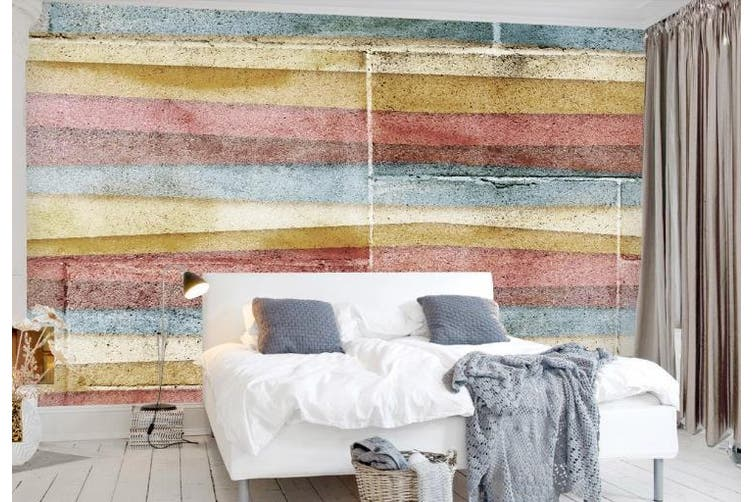 3D Color Stripes Background Wall Mural Wallpaper  D77 Self-adhesive Laminated Vinyl-W: 525cm X H: 295cm