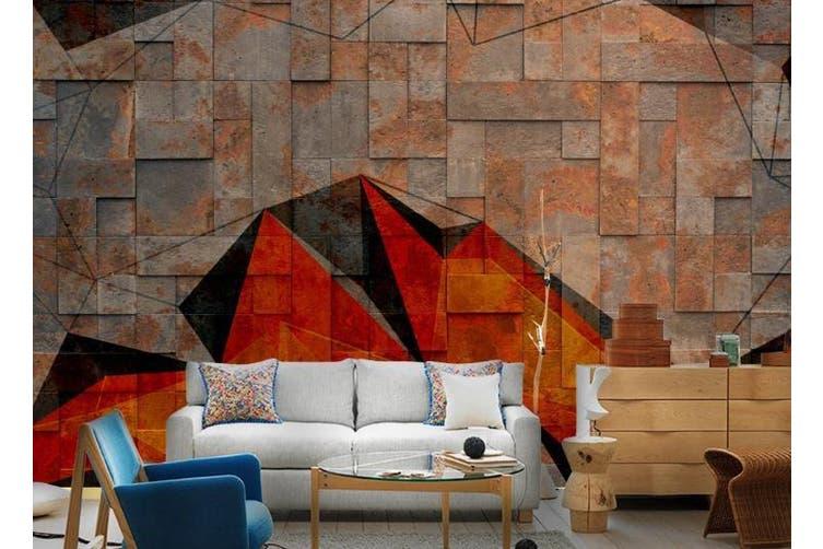 3D Retro Brick Wall Geometry Wall Mural Wallpaper  D76 Self-adhesive Laminated Vinyl-W: 320cm X H: 225cm
