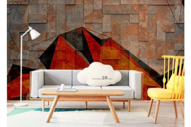 3D Retro Brick Wall Geometry Wall Mural Wallpaper  D76 Self-adhesive Laminated Vinyl-W: 420cm X H: 260cm