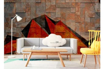 3D Retro Brick Wall Geometry Wall Mural Wallpaper  D76 Self-adhesive Laminated Vinyl-W: 525cm X H: 295cm