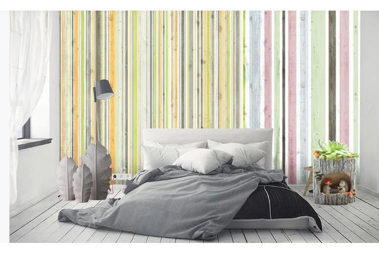 3D Color Stripes Background Wall Mural Wallpaper  D75 Self-adhesive Laminated Vinyl-W: 525cm X H: 295cm