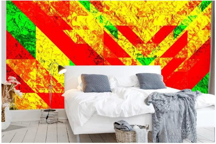 3D Color Geometry Graphical Wall Mural Wallpaper  D73 Self-adhesive Laminated Vinyl-W: 210cm X H: 146cm