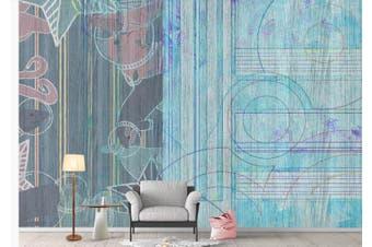 3D Retro Geometry Graphical Wall Mural Wallpaper  D72 Self-adhesive Laminated Vinyl-W: 320cm X H: 225cm