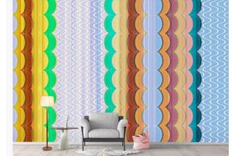 3D Color Stripes Background Wall Mural Wallpaper  D71 Self-adhesive Laminated Vinyl-W: 210cm X H: 146cm