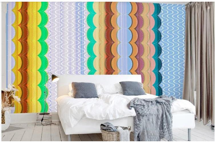 3D Color Stripes Background Wall Mural Wallpaper  D71 Self-adhesive Laminated Vinyl-W: 320cm X H: 225cm