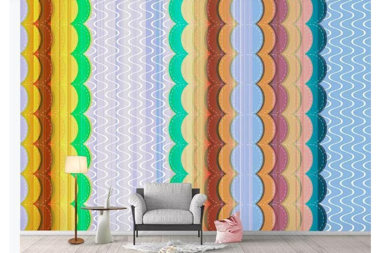 3D Color Stripes Background Wall Mural Wallpaper  D71 Self-adhesive Laminated Vinyl-W: 420cm X H: 260cm