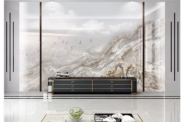 3D Marble Decorative Beautiful Floral Wall Mural Wallpaper  D60 Self-adhesive Laminated Vinyl-W: 320cm X H: 225cm