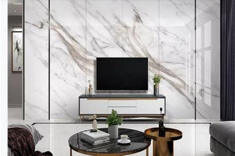 3D Marble Decorative Beautiful Floral Wall Mural Wallpaper  D57 Self-adhesive Laminated Vinyl-W: 525cm X H: 295cm