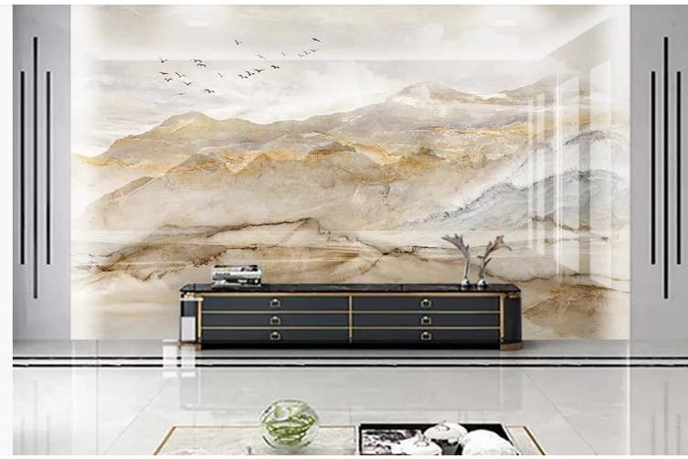 3D Marble Decorative Beautiful Floral Wall Mural Wallpaper  D56 Self-adhesive Laminated Vinyl-W: 420cm X H: 260cm