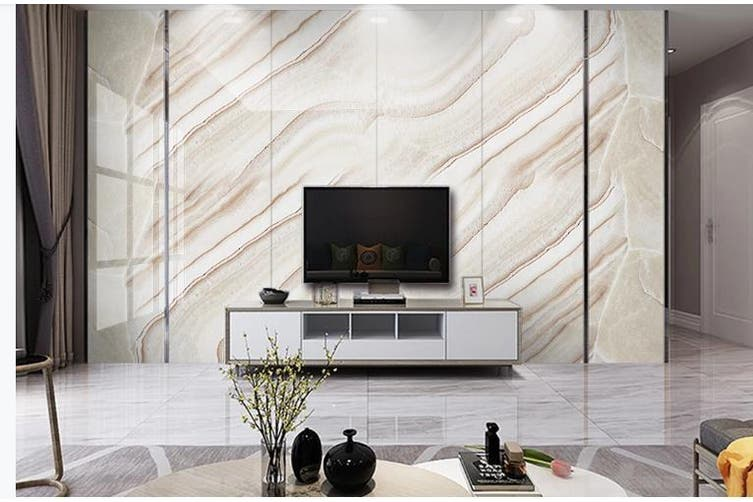 3D Marble Decorative Beautiful Floral Wall Mural Wallpaper  D52 Self-adhesive Laminated Vinyl-W: 525cm X H: 295cm