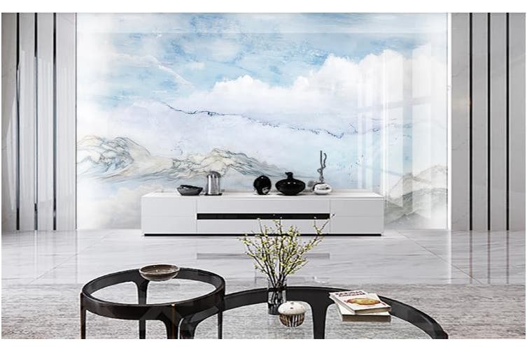 3D Marble Decorative Beautiful Floral Wall Mural Wallpaper  D45 Self-adhesive Laminated Vinyl-W: 525cm X H: 295cm