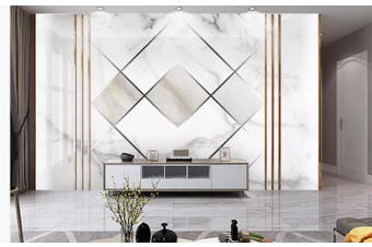 3D Marble DecorativeGeometry Graphical Wall Mural Wallpaper  D41 Self-adhesive Laminated Vinyl-W: 210cm X H: 146cm