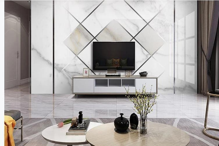 3D Marble DecorativeGeometry Graphical Wall Mural Wallpaper  D41 Self-adhesive Laminated Vinyl-W: 320cm X H: 225cm