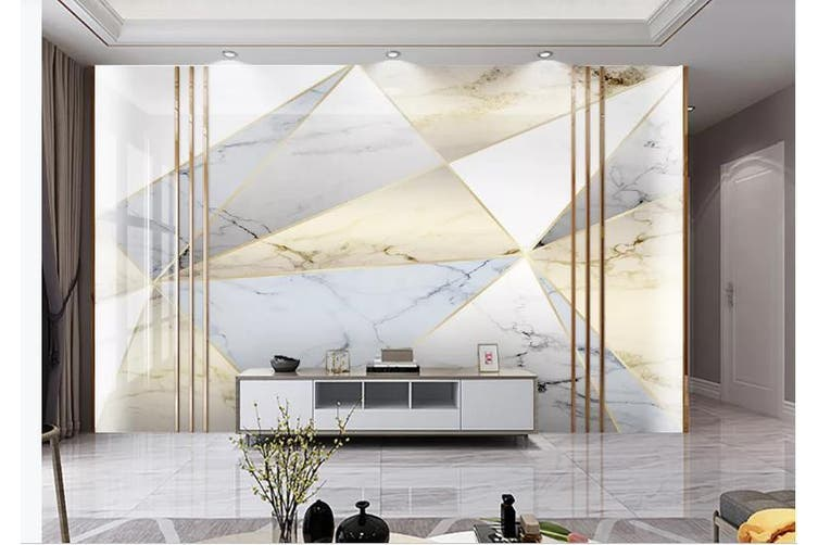 3D Marble DecorativeGeometry Graphical Wall Mural Wallpaper  D40 Self-adhesive Laminated Vinyl-W: 320cm X H: 225cm