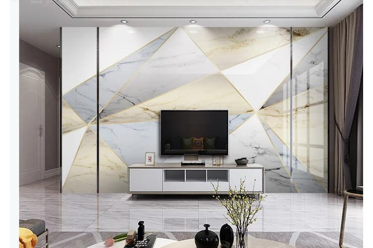 3D Marble DecorativeGeometry Graphical Wall Mural Wallpaper  D40 Self-adhesive Laminated Vinyl-W: 420cm X H: 260cm