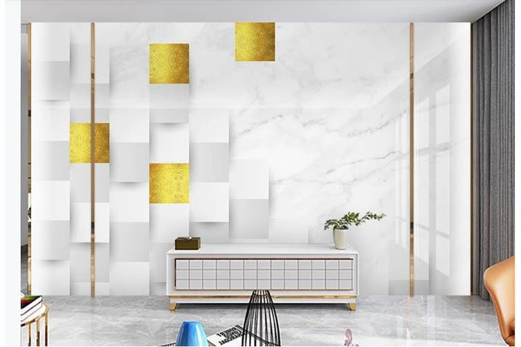 3D Marble DecorativeGeometry Graphical Wall Mural Wallpaper  D39 Self-adhesive Laminated Vinyl-W: 320cm X H: 225cm