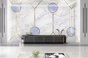 3D Marble DecorativeGeometry Graphical Wall Mural Wallpaper  D38 Self-adhesive Laminated Vinyl-W: 210cm X H: 146cm