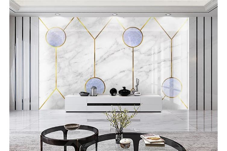 3D Marble DecorativeGeometry Graphical Wall Mural Wallpaper  D38 Self-adhesive Laminated Vinyl-W: 420cm X H: 260cm