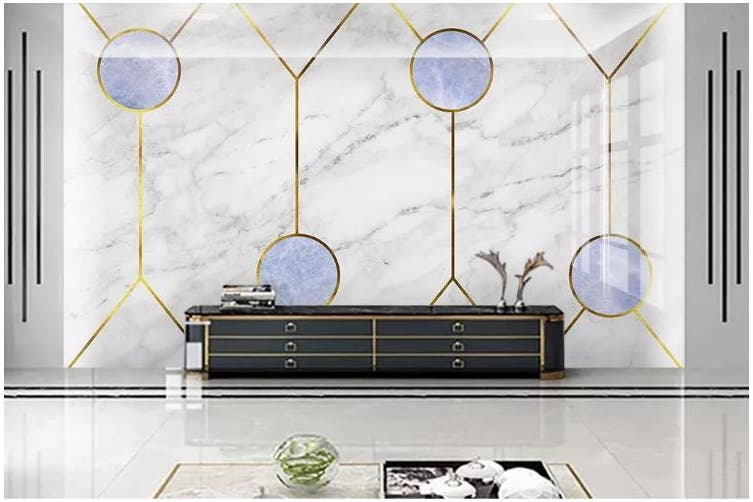 3D Marble DecorativeGeometry Graphical Wall Mural Wallpaper  D38 Self-adhesive Laminated Vinyl-W: 525cm X H: 295cm