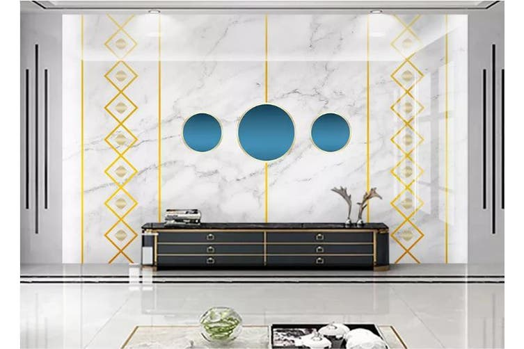 3D Marble DecorativeGeometry Graphical Wall Mural Wallpaper  D37 Self-adhesive Laminated Vinyl-W: 320cm X H: 225cm