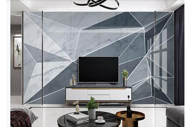 3D Marble DecorativeGeometry Graphical Wall Mural Wallpaper  D36 Self-adhesive Laminated Vinyl-W: 420cm X H: 260cm